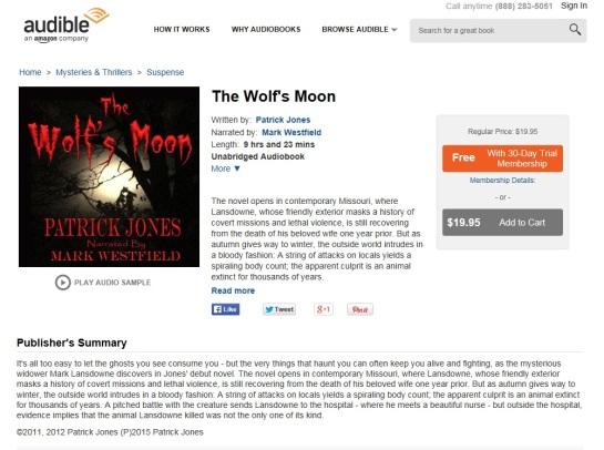The Wolf's Moon by Patrick Jones live on Audible